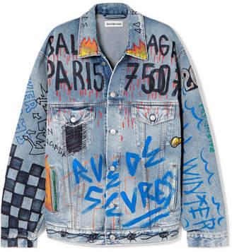 Balenciaga Oversized Printed Denim Jacket - Blue