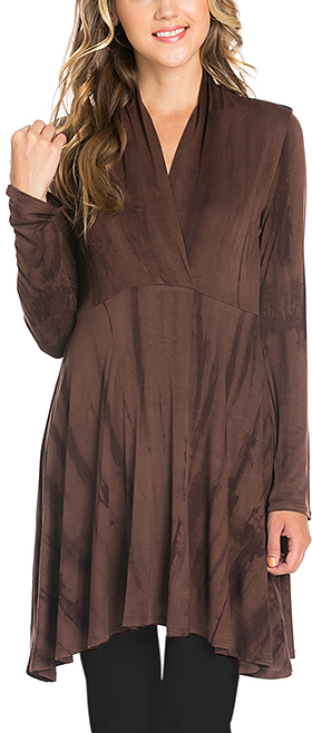 Brown Tie-Dye Surplice Tunic - Plus Too