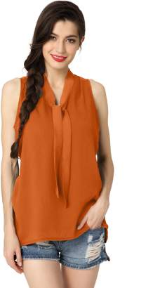 Abollria Womens Summer Chiffon Sleeveless Tops Casual Blouse Shirt V Neck Bow