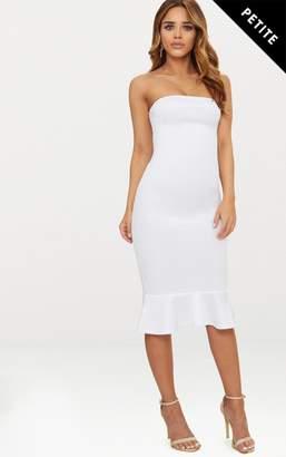 PrettyLittleThing Petite White Bandeau Frill Hem Midaxi Dress