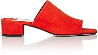 Barneys New York Women's Square-Toe Suede Mules - Orange