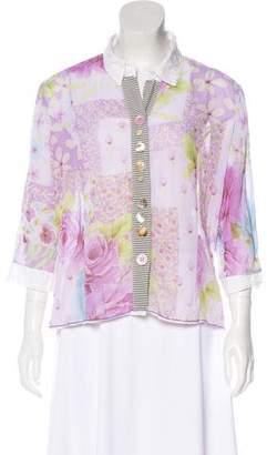 Bottega Veneta Floral Print Crepe Button-Up Blouse