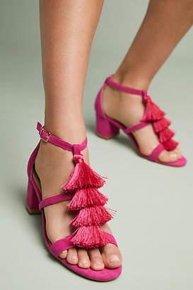 Anthropologie Tassel Heeled Sandals