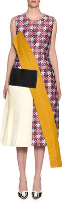 Marni Sleeveless Macro Houndstooth Multi-Fabric Midi Dress