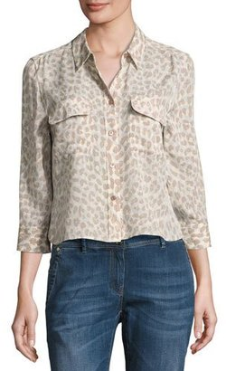 Equipment Leopard-Print 3/4-Sleeve Cropped Slim Signature Silk Shirt, Natural Pink $248 thestylecure.com