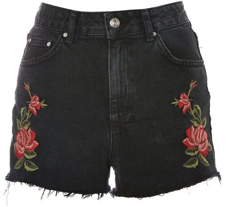 Topshop Topshop Moto rose embroidered mom shorts