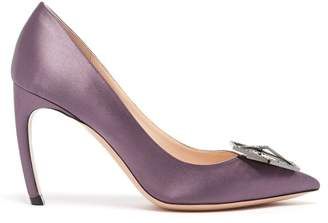 Nicholas Kirkwood Eden Crystal Embellished Satin Pumps - Womens - Purple
