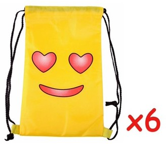 JuJu Smiling Emoji Heart Eyes Yellow Nylon Backpack Beach Bag Satchel 6 Pack