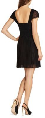 BCBGMAXAZRIA Aris Pleated Lace-Inset Cocktail Dress