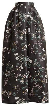 Rochas Bouquet Print Duchess Satin Skirt - Womens - Black Print