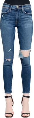 Frame Le High Skinny Cut Out Denim Jeans