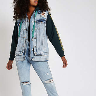 River Island Mid blue jersey sleeve tape side denim jacket