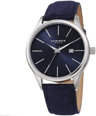 Akribos XXIV Silver Tone Casual Quartz Watch With Leather Strap [AK1019BU]
