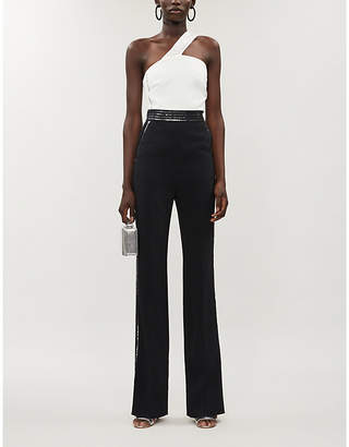 David Koma Sequin-embellished one-shoulder-crepe jumpsuit