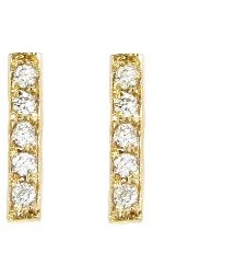 Jennifer Meyer Yellow Gold Diamond Bar Studs