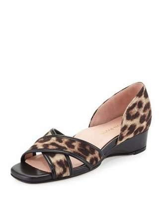Taryn Rose Kaida Crisscross Demi-Wedge Sandal, Tan/Black $199 thestylecure.com
