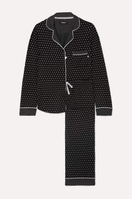 DKNY Printed Stretch-jersey Pajama Set - Black