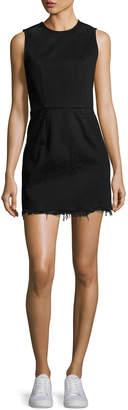 Alexander Wang Faded Denim Zip-Back Mini Dress, Black