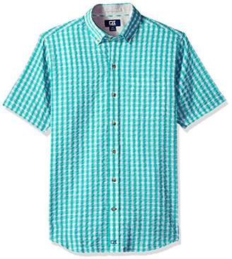 Cutter & Buck Men's Tyler Plaid Short Sleeve Button Down Seersucker Shirt
