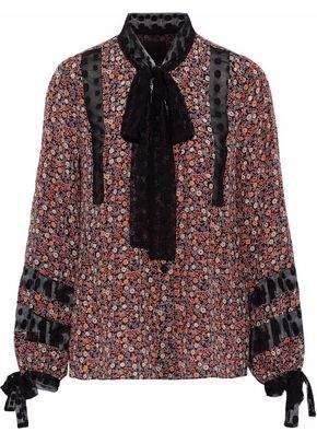 Anna Sui Point D'esprit-Trimmed Floral-Print Silk Crepe De Chine Blouse