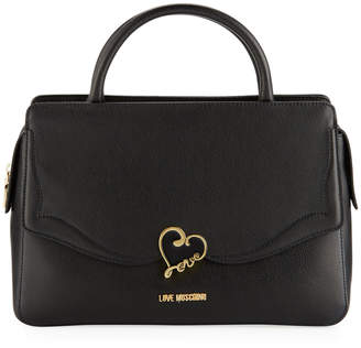 Love Moschino Top-Handle Leather Satchel Bag with Enamel Heart