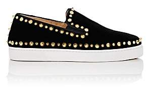 Christian Louboutin Women's Pik Boat Woman Flat Velvet Sneakers - Version Black