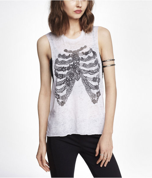 Express Burnout Graphic Muscle Tank - Lace Ribcage
