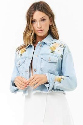 Forever 21 Floral Embroidered Denim Jacket