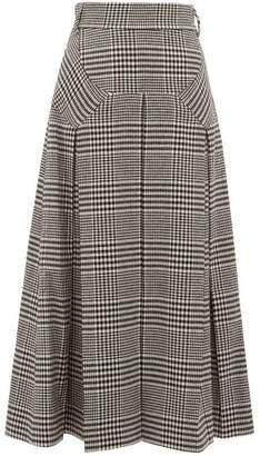 Emilia Wickstead Giuliana Prince Of Wales Check Wool Blend Skirt - Womens - Black White