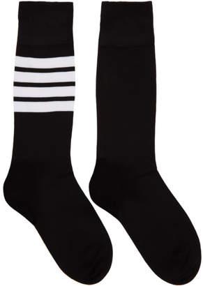 Thom Browne Black Lightweight Cotton Mid-Calf Socks