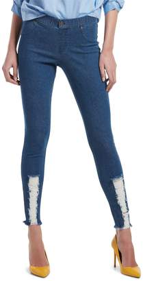 Hue Shredded Hem Denim Leggings