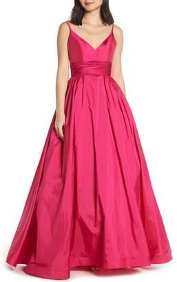 Mac Duggal V-Neck Satin Evening Dress