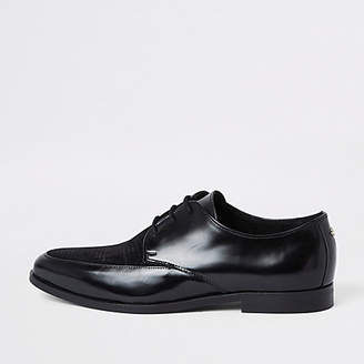 River Island Black high shine textured lace-up derby shoes
