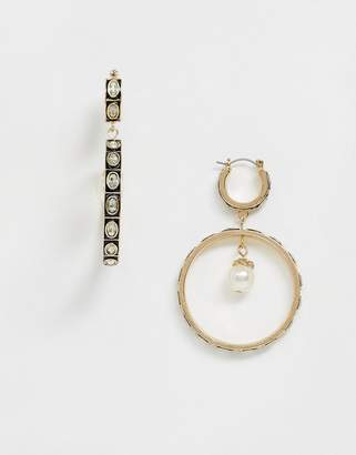 Asos Design DESIGN hoop earrings with crystal and pearl drop in gold tone