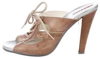 Prada Sport Lace-Up Slide Sandals
