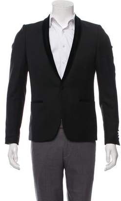 The Kooples Suede-Accented Wool Blazer