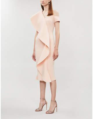 Lavish Alice Off-the-shoulder neoprene midi dress