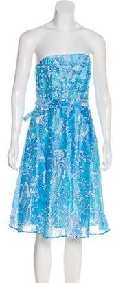 Lilly Pulitzer Strapless Abstract Print Dress