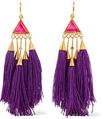 Katerina Makriyianni - Tasseled Gold-tone Crystal Earrings - Purple