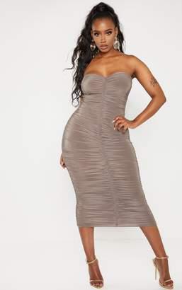 PrettyLittleThing Shape Mocha Bandeau Ruched Midaxi Dress