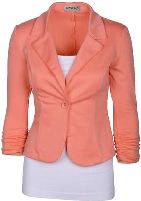 FCYOSO Womens Casual Work Office One Button Blazer Jacket