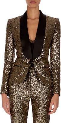 Redemption Shawl-Collar One-Button Golden Paillettes Blazer