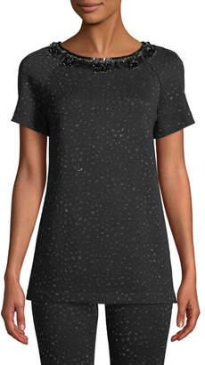 St. John Embellished-Neck Short-Sleeve Metallic Blister Knit Top