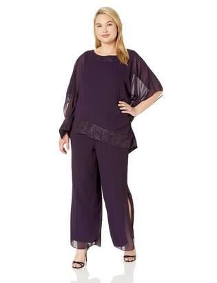 9defd6657d9c2 Le Bos Women s Plus Size Poncho 2 Pc Pant Set