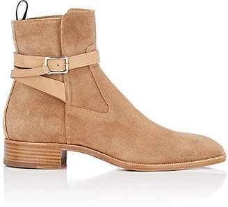 Christian Louboutin Men's Quico Flat Suede Jodhpur Boots - Beige, Tan