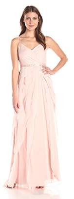 Adrianna Papell Women's Spaghetti Strap Chiffon Long Gown with Ruffle Skirt