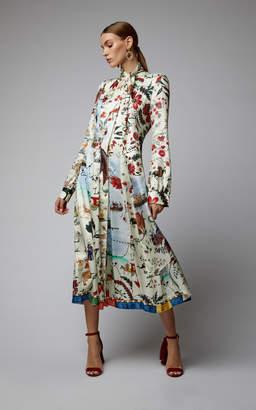 Oscar de la Renta Printed Midi Dress With Self Tie Bow Neck