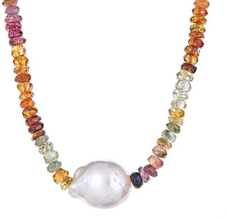 Forever Creations USA Inc. Forever Creations Silver 20.00 Ct. Tw. Multicolor Tourmaline & 10Mm Pearl Necklace