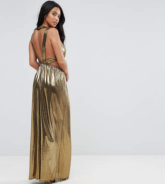 TFNC Petite V Neck Maxi Dress With Pleated Back Panels