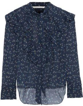 Veronica Beard Finley Tie-Neck Ruffled Floral-Print Silk-Chiffon Blouse